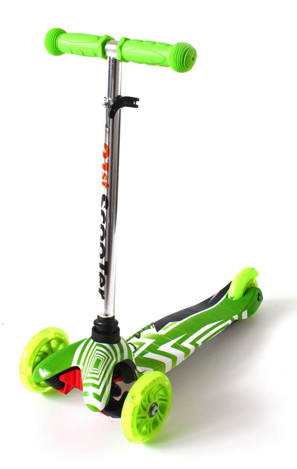 Jedinečné dětské odrážedlo se světélkujícími koly, nastavitelnými řídítky a odolnou brzdou zelené